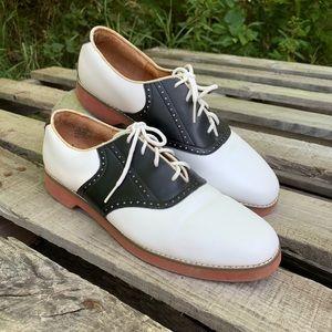 Jumping Jacks saddle shoes black white leather